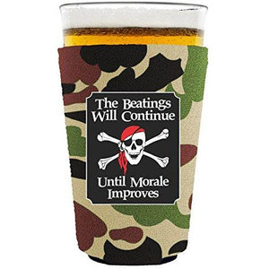 pint glass koozie with the beatings will continue design