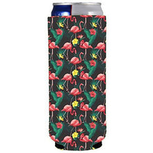 Load image into Gallery viewer, slim can koozie with pink flamingo pattern design