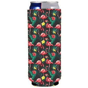 slim can koozie with pink flamingo pattern design