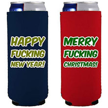 Load image into Gallery viewer, slim can koozies with merry fucking chrismtas and happy fucking new year funny text designs