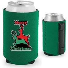 Load image into Gallery viewer, green magnetic can koozie with funny reindeer humping design