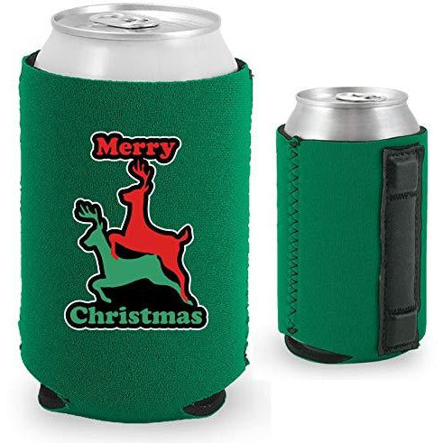 green magnetic can koozie with funny reindeer humping design