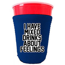 Load image into Gallery viewer, royal blue party cup koozie with i have mixed drinks about feelings design