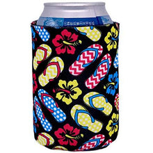 Load image into Gallery viewer, can koozie with flip flop pattern design