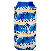 Load image into Gallery viewer, 16 oz can koozie with waves beach tropical pattern design