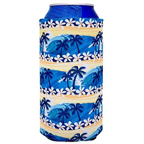16 oz can koozie with waves beach tropical pattern design