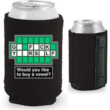 Load image into Gallery viewer, black magnetic can koozie with funny wheel of fortune board go fuck yourself buy a vowel design