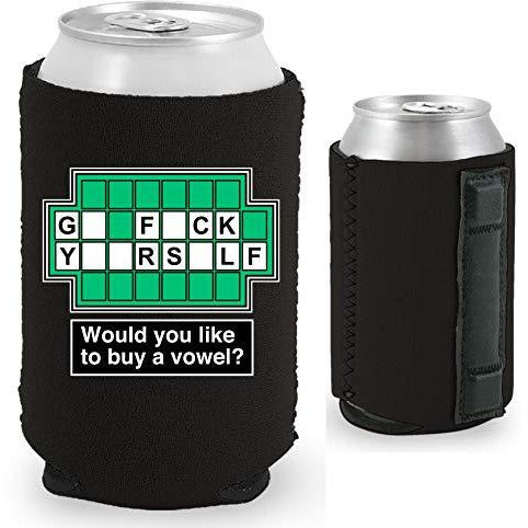 black magnetic can koozie with funny wheel of fortune board go fuck yourself buy a vowel design