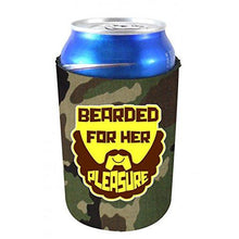 Load image into Gallery viewer, camo can koozie with bearded for her pleasure funny design