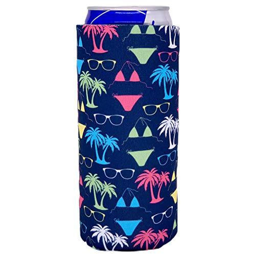 slim can koozie with bikini and sunglasses pattern on navy blue design