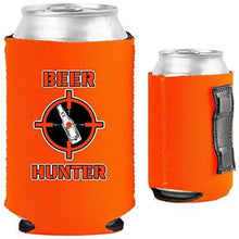 Load image into Gallery viewer, orange magnetic can koozie with funny beer hunter design