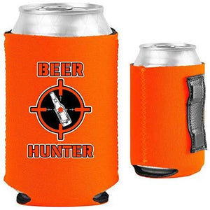 orange magnetic can koozie with funny beer hunter design