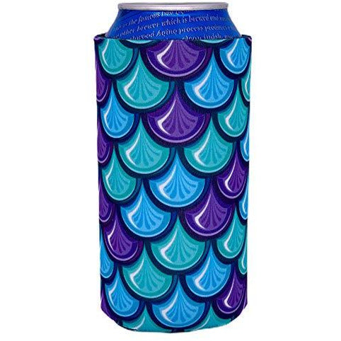 16 oz can koozie with fish scale design