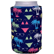 Load image into Gallery viewer, can koozie with bikini and sunglasses pattern in neon green, pink and white and navy background