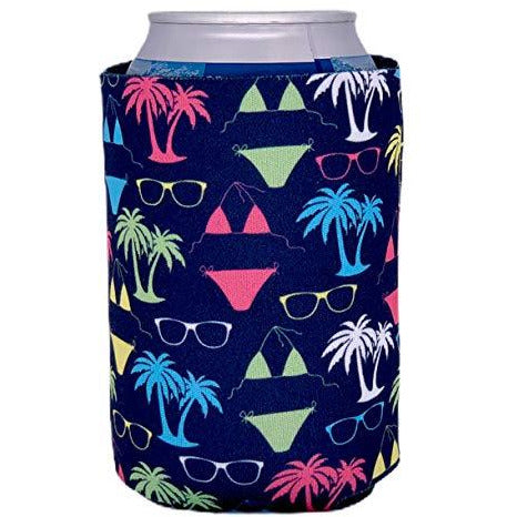 can koozie with bikini and sunglasses pattern in neon green, pink and white and navy background