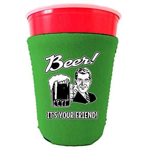 bright green party cup koozie with beer its your friend design