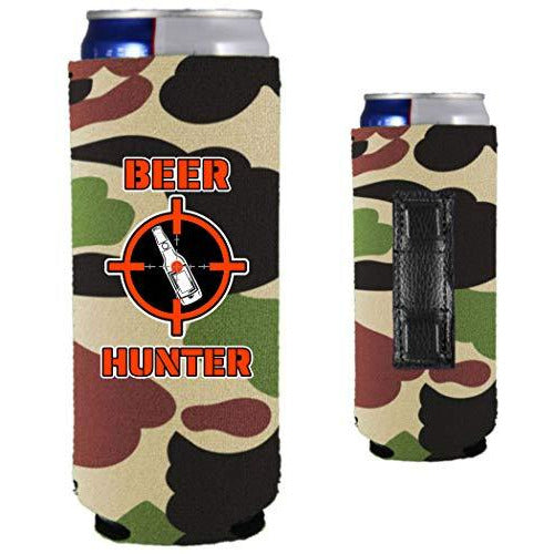 camo magnetic slim can koozie with funny beer hunter design