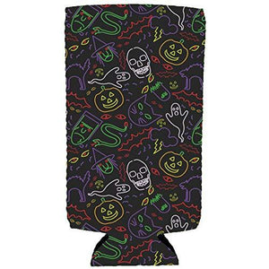 Halloween Neon Pattern Slim Can Coolie
