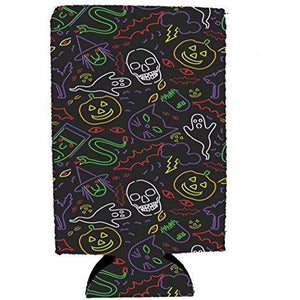 Halloween Neon Pattern 16 oz. Can Coolie
