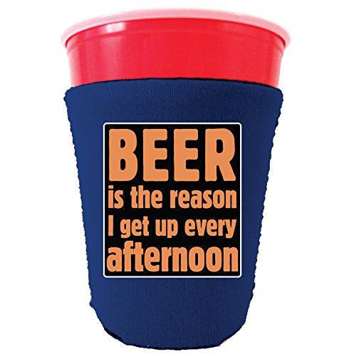 royal blue party cup koozie with beer is the reason i get up every afternoon design