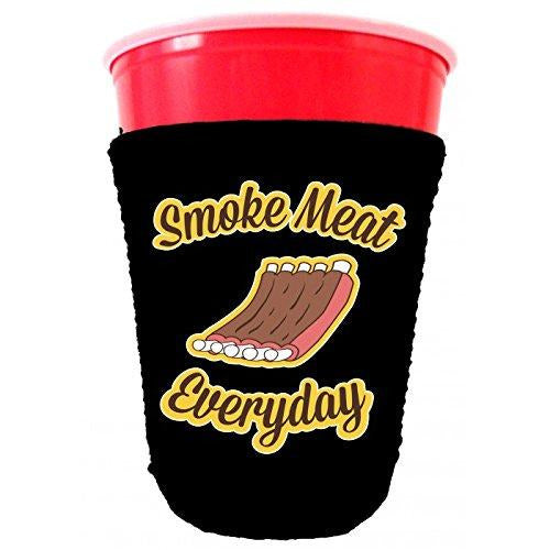 black party cup koozie with smoke meat everyday design