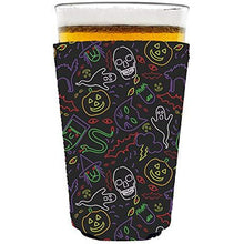 Load image into Gallery viewer, pint glass koozie with halloween characters in neon colors design
