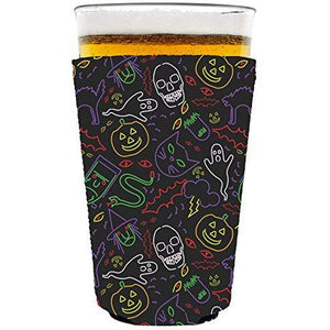 pint glass koozie with halloween characters in neon colors design
