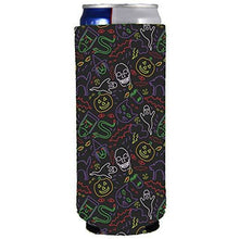 Load image into Gallery viewer, slim can koozie with halloween characters pattern in neon colors and black background