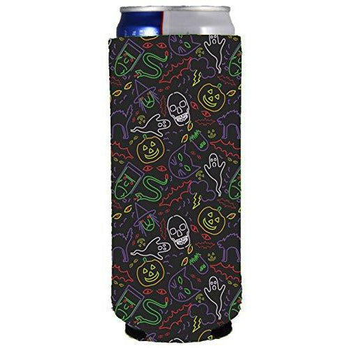 slim can koozie with halloween characters pattern in neon colors and black background