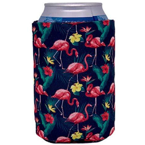 can koozie with flamingo design