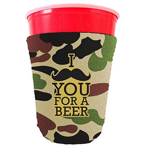 camo party cup koozie with i mustache you for a beer design