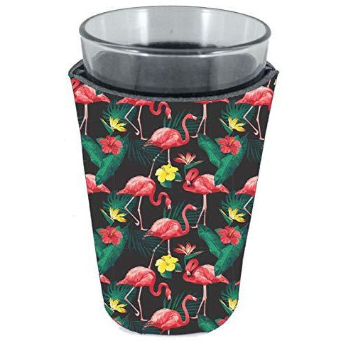pint glass koozie with pink flamingo pattern design