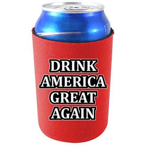 "red can koozie with ""drink america great again"" text design"