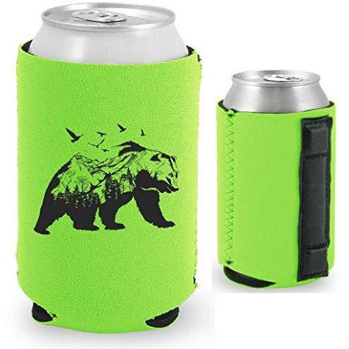 bright green magnetic can koozie with mountain bear graphic design