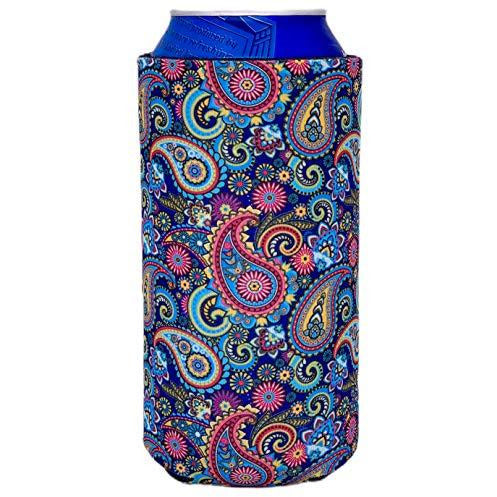 16 oz can koozie with paisley design