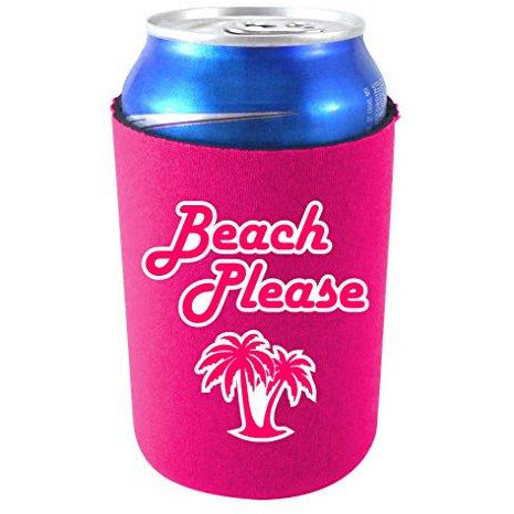 magenta can koozie with beach please text and palm tree design