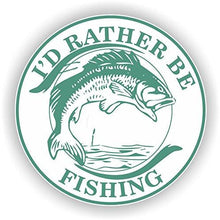 Load image into Gallery viewer, vinyl sticker with id rather be fishing design