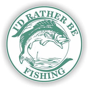vinyl sticker with id rather be fishing design