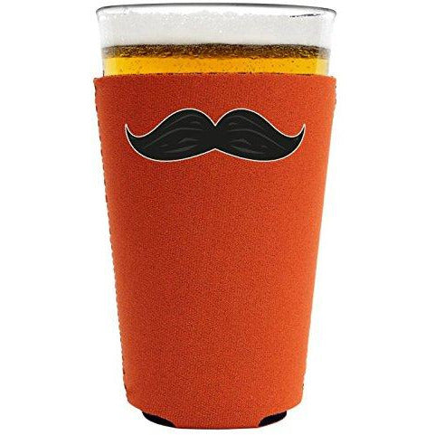 pint glass koozie with mustache design