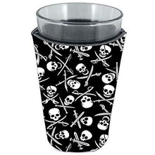 Load image into Gallery viewer, pint glass koozie with pirate pattern skull and bones design