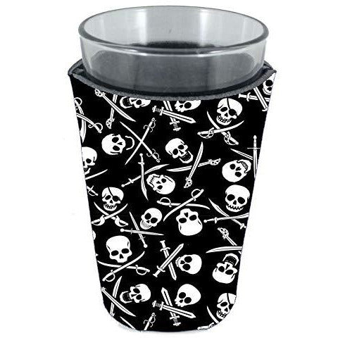 pint glass koozie with pirate pattern skull and bones design