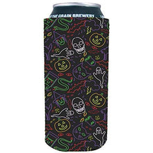 Load image into Gallery viewer, 16 oz can koozie with Halloween pattern including ghosts, skulls, pumpkins in neon colors and black background