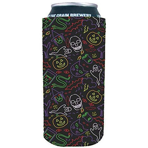 16 oz can koozie with Halloween pattern including ghosts, skulls, pumpkins in neon colors and black background