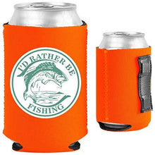 Load image into Gallery viewer, orange magnetic can koozie with I'd rather be fishing design
