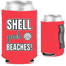 Load image into Gallery viewer, pink magnetic can koozie with shell yeah beaches funny text design