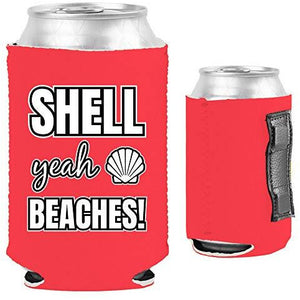 pink magnetic can koozie with shell yeah beaches funny text design