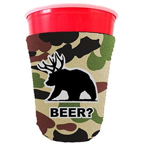 camo party cup koozie wuth beer bear design