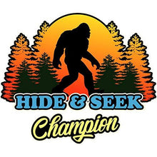 Load image into Gallery viewer, vinyl sticker with hide and seek champion design