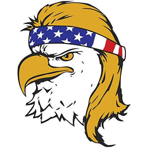 vinyl 5 inch decal with funny bald eagle with mullet haircut design
