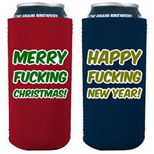 Load image into Gallery viewer, Merry Fucking Christmas Happy Fucking New Year 16 oz. Can Coolie